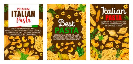 Pasta food vector design of Italian macaroni and green herbs. Farfalle, spaghetti and penne, fusilli, cannelloni and conchiglie, fettuccine and lasagna frame on wooden background with rosemary, thyme