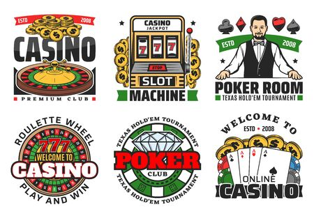 Casino roulette, poker gambling game and slot machine vector icons. Casino dice, chips and blackjack playing cards, fortune wheel, 777 jackpot and money, coins and croupier. Online casino retro design