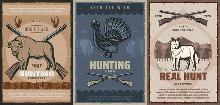 Hunting sport wild animals, bird and hunter rifles vector design of huntsman club or outdoor adventure. Wolf, shotgun and gun, buffalo, bison and wood grouse retro poster with deer antlers and forest