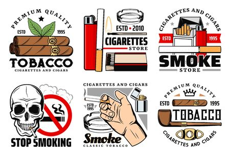 Tobacco vector icons of cigarettes, cigars and skull, lighter, matches and smoking pipe, ashtray, cuban cigar cutter, prohibition sign and smoker hand. Stop smoking, addictions themes