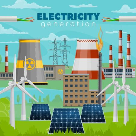 Electric power industry vector design of electricity generation power plants. Wind energy turbines and solar panels, gas, nuclear, thermal and coal power plants, cooling towers, pipes and poles