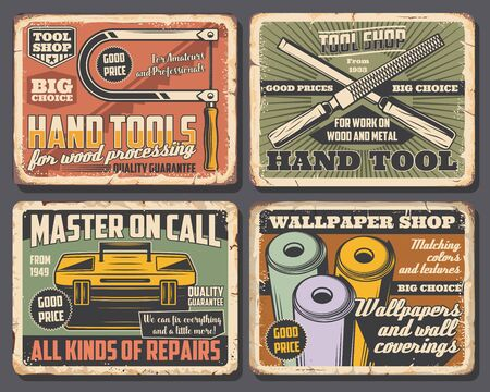 Hand tools of house repair, construction, carpentry and interior design rusty metal signboards. Vector toolbox with rasp file, wallpaper rolls and jigsaw. Hardware shop and workshop retro design