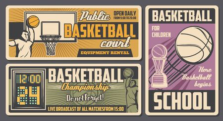 Basketball sport retro design with vector balls, winner trophy cup and basket, players, arena and scoreboard. Basketball game championship match, sport school and sporting equipment rental banners