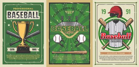 Baseball sport stadium field with vector balls, bats and winner trophy cup, player uniform jersey shirt and pitcher helmet. Baseball championship match retro posters, sporting competition themes