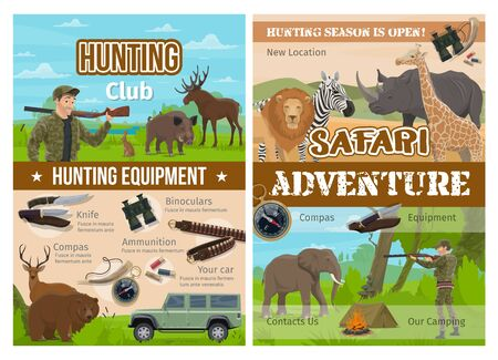 Hunting sport club and safari adventure with vector hunter equipment and wild animals. Huntsman, gun and rifle, bear, deer and lion, elephant, rhino and boar, knife, compass, binoculars and ammunition Ilustração