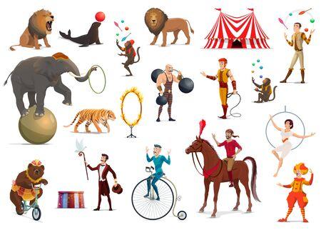 Artisti circensi e artisti della tenda superiore del carnevale disegno vettoriale. Pagliaccio cartone animato, acrobata e uomo forte, animale elefante addestrato, leone e cavallo, giocoliere, mago e ragazza trapezio, scimmia giocoliere, domatore