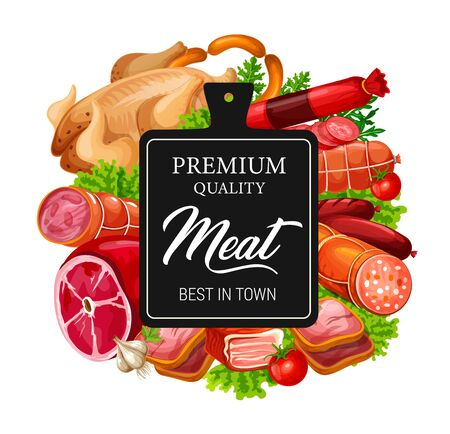 Meat and sausages, fresh food of butcher shop vector design. Pork ham, beef sausages and salami, bacon, chicken and turkey, green herbs, spices and cutting board. Meat store and barbecue restaurant Illustration