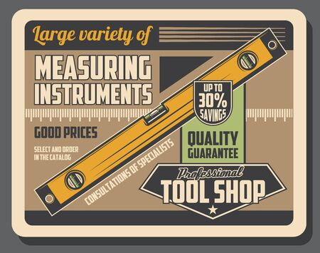 Level tool of construction builder, carpenter, mason and bricklayer workers. Spirit or bubble ruler, vector measuring instrument of tool shop and hardware store retro poster design