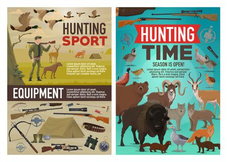 Hunting sport vector design of hunter equipment, animals and birds. Cartoon huntsman with dog and rifle, duck, bear and wolf, deer, shotgun and knife, goose, quail and fox, pheasant and buffalo Illustration
