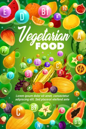 Vegetarian food vitamins vector design with exotic fruits and tropical berries. Health benefits of orange, banana, papaya and apple, fig, mango and grapes, durian, lemon, passion and dragon fruits Banque d'images - 126760492
