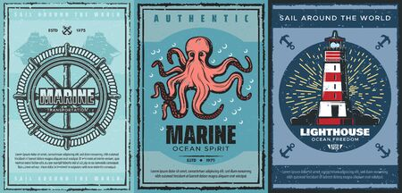 Nautical anchors, marine sailing ships and sea helm, sailboat rope, ocean octopus, navy lighthouse and vintage navigation beacon vector posters. Maritime travel and marine adventure themes