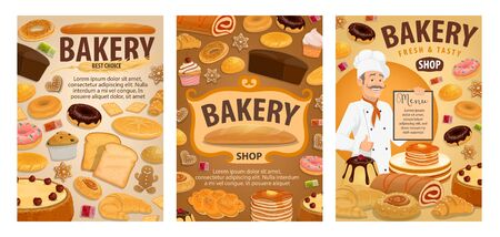 Bakery and pastry shop vector menu with baker, bread and baked dessert. Cakes, baguettes and croissants, buns, donuts and toasts, cupcakes, sweet rolls and bagels, cookie, pies and gingerbread