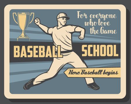 Baseball sport school vector poster of pitcher player pitching ball to catcher retro design with winner trophy cup, team uniform and cap. Sporting education themes