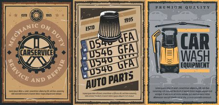 Car service, auto spare parts and car wash equipment retro posters. Vector vehicle gear wheel, bearing and auto number plates, air filter, windscreen wipers and high pressure water spray machine Stock Illustratie