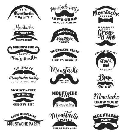 Mustache party or Movember mens health vector icons. Gro mo bro, no shave season symbols of mustache and ribbon with star for man solidarity social event