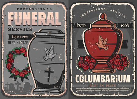 Funeral ceremony vintage design of burial, cremation and interment services. Vector columbarium with cinerary urns and cemetery with tombstones, floral wreath of rose flowers, memorial ribbons, doves