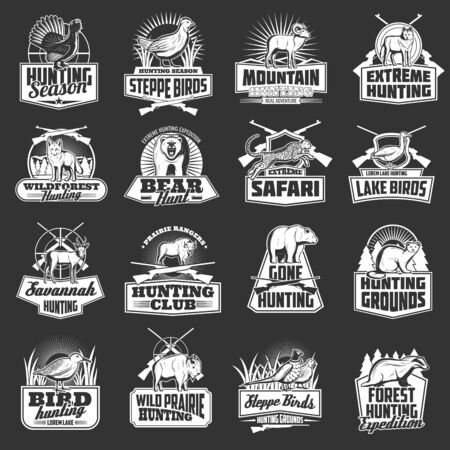 Hunting sport, safari and hunter club vector badges with wild animals, birds and huntsman guns. Bear, wolf and duck, african jaguar, buffalo and mountain sheep, rifle, shotgun, quail monochrome icons Illustration