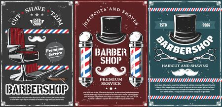 Barbershop vector design of men haircut, beard and mustache shave saloon. Retro poles of barber shop, hairdresser chair and open razor blade, scissors, vintage top hats and moustaches