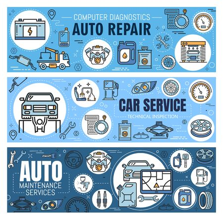 Auto repair, car diagnostic and maintenance service vector banners with thin line vehicle spare parts. Motor oil, wheel tire and battery, engine, spanner, wrench and spark plug. Mechanic garage design