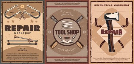 House repair tools, carpentry and construction instruments retro posters with vector axe, tape measure and tile cutter, trowels, jigsaw and crowbars. Carpenter workshop, home renovation service design Stock Illustratie