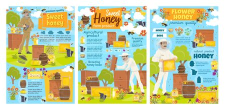 Beekeeper with honey bees, honeycomb and beehives at apiary. Vector beekeeping farm, apiarist and jars of flower honey, beekeeper suit, hat and smoker. Natural sweet food and apiculture design Illustration