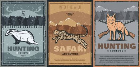 Hunting sport and safari adventure retro design with vector animals and hunter guns. Wild african jaguar, fox and badger posters with huntsman shotgun or rifle, forest trees and mountain landscape Illustration