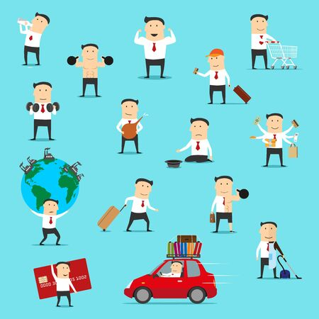 Businessman, office worker or manager vector cartoon characters traveling and begging for money. Man doing shopping, exercises and housework, carrying credit card and polluted earth globe Иллюстрация