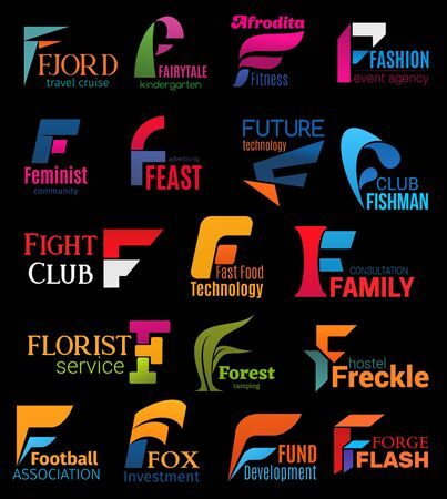 F icons corporate identity signs of fashion event agency, hostel or fast food restaurant and feminist community. Vector F letters of technology company, football sport association or fund investment Stock Vector - 126760523