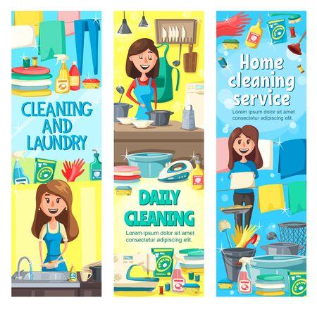 Service de nettoyage de maison et conception vectorielle de travaux ménagers pour le nettoyage, la lessive, la cuisine et le lavage de la vaisselle. Femme au foyer, femme de ménage professionnelle ou femme de ménage faisant des tâches ménagères avec un balai, une brosse et des gants