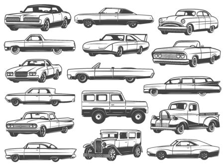 Retro car and vintage auto vector icons. Old motor vehicle transport monochrome symbols of coupe, sedan and cabriolet, wagon, sport and crossover car, pickup, hatchback and mini track models