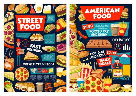 Fast food vector menu of street food restaurant snack meal and drink. Pizza, hot dog and hamburger, coffee, fries and popcorn, chicken nuggets, soda and donut, mexican tacos, nacho and chinese noodles Illustration