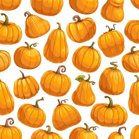 Pumpkin vegetable seamless pattern background with vector orange gourds and autumn squashes, green leaves and vines. Fresh vegetarian food, farm veggies, Halloween and Thanksgiving themes design
