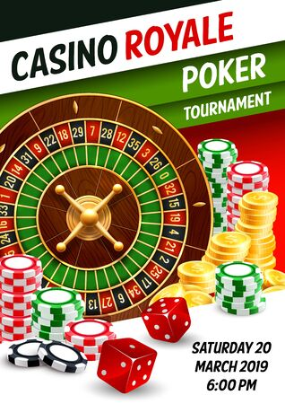 Casino-Pokerturnier 3D-Vektorplakat mit Roulette, Würfeln und Chips, Spielkarten und goldenen Dollarmünzen. Design des Glücksspiel-Sportspiel-Wettbewerbs, Themen der Spieleindustrie Vektorgrafik