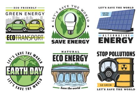 Green energy and eco power vector icons of ecology and environment themes. Globe with green leaves and light bulb, solar panel and electric cars, hydropower plant and radioactive waste barrel 向量圖像