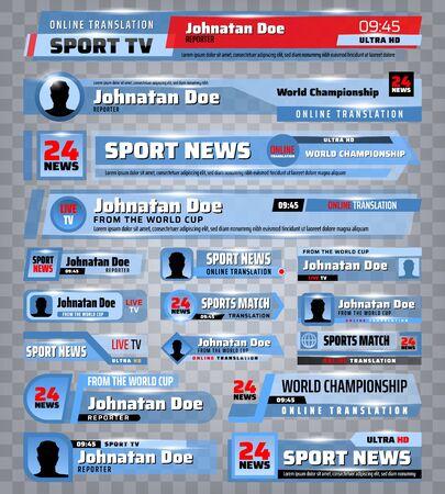 TV-Nachrichten im unteren Drittel Banner und Balken 3D-Vektordesign. Übertragen Sie Videos von Sport- und Live-Shows, Breaking- und Fake-News-Streaming-Übersetzungstitelvorlagen mit Namen von Kanal und Reporter