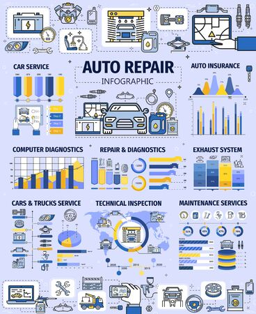 Car service infographics, auto repair spare parts, diagnostics and maintenance statistics. Vector graphs, charts and world map with thin line wheel tire, motor oil and battery, spanner, wrench, engine