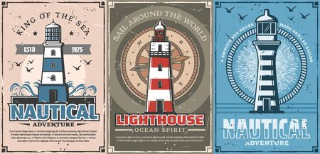 Lighthouse and vintage nautical compass vector posters of sea travel and marine adventure design. Sailing ship or boat navigation beacons with striped safety towers, yacht rope, waves and seagulls