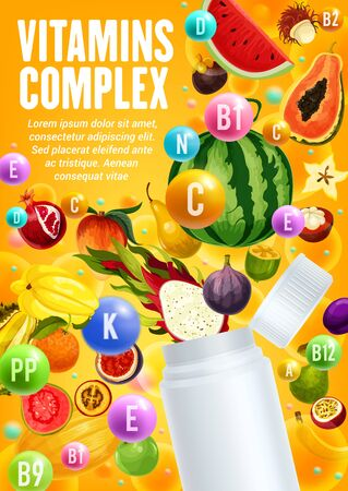 Fruit vitamins complex vector design with tropical berries and open bottle. Exotic papaya, orange and mango, apple, durian and pear, watermelon, carambola and fig, feijoa, banana and dragon fruit