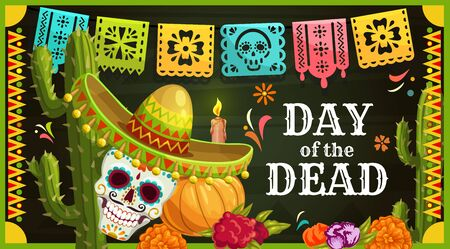 Day of the Dead Mexican sugar skull with sombrero vector greeting card. Dia de los Muertos altar with marigold flowers, candle and paper cut flag garland, Halloween pumpkin and cactus Vectores