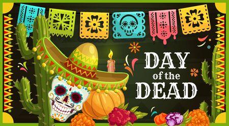 Jour des morts crâne de sucre mexicain avec carte de voeux de vecteur sombrero. Autel de Dia de los Muertos avec fleurs de souci, bougie et guirlande de drapeaux découpés en papier, citrouille d'Halloween et cactus Vecteurs