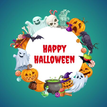 Happy Halloween round frame with holiday symbols. Vector scary ghosts, skull skeleton, raven on tree, cauldron of potion, sack of sweets, caramel candies and jellies. Jack-o-lantern in witch hat Illusztráció
