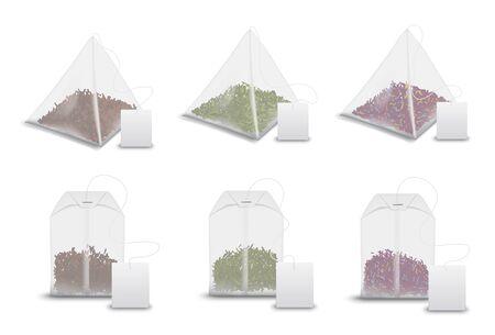 Pirámides de bolsitas de té con etiquetas, plantillas de maquetas 3D realistas. Vector aislado bolsitas de té, pirámides y rectángulos con hojas de té negro y verde, fruto de bolsas florales con etiquetas en blanco