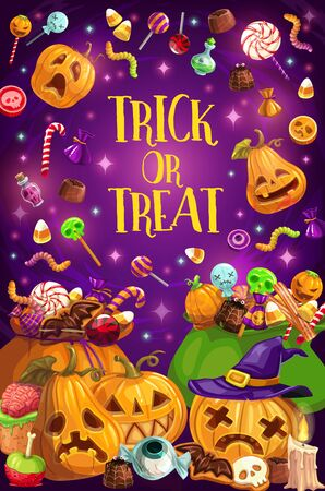 Trick or treat, Halloween holiday, candies and jack lanterns. Vector pumpkin with face and witch hat, confectionery products or sweets. Chocolate and marmalade, warm and bat, eyeball and candle
