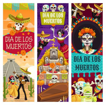 Day of Dead Mexican holiday banners, Dia de los Muertos fiesta celebration. Vector dead woman dance with skeleton playing guitar, calavera skull on ritual altar with photos, candles and coffin Иллюстрация
