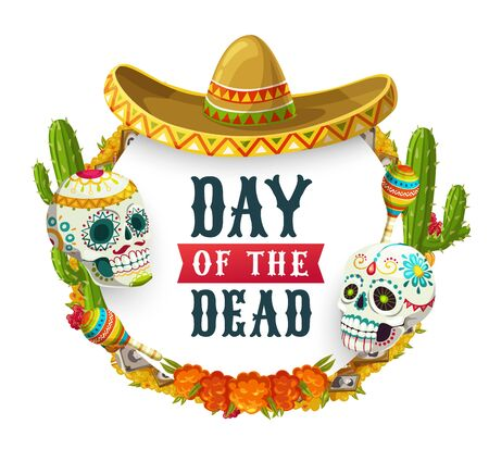 Dia de los Muertos, Mexican Day of Dead fiesta party poster. Vector Day of Dead holiday in Mexico, catrina calavera skulls with sombrero, maracas, marigold flowers wreath and altar photos