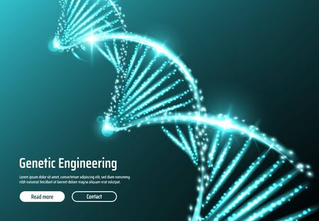 DNA molecule landing page vector design of genetic engineering medical laboratory. Double helix of DNA with spiral strands of glowing blue lines and particles. Science research of medicine and biology Illustration