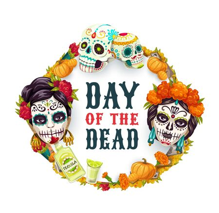 Dia de los Muertos, Day of Dead Mexican fiesta party, woman catrina calavera skull in marigold flowers wreath. Vector Day of Dead holiday in Mexico poster, altar photos, pumpkins and Mexican tequila Иллюстрация
