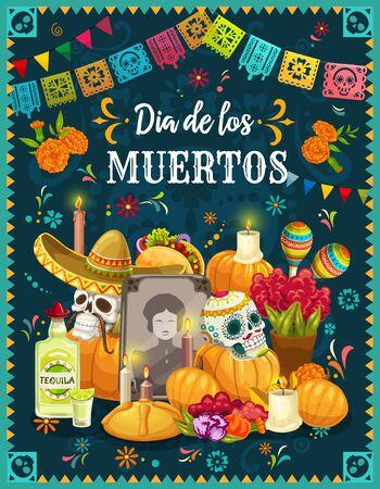 Altare del Dia de los Muertos con teschi di zucchero, disegno vettoriale messicano del giorno dei morti. Pietra tombale, decorata con teschi in sombrero, maracas e fiori di calendula, candele, panino dolce e zucca di Halloween Vettoriali