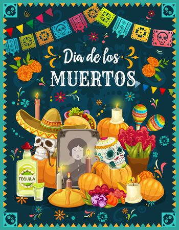 Dia de los Muertos altar with sugar skulls, Mexican Day of the Dead vector design. Tombstone, decorated with skulls in sombreros, maracas and marigold flowers, candles, sweet bun and Halloween pumpkin