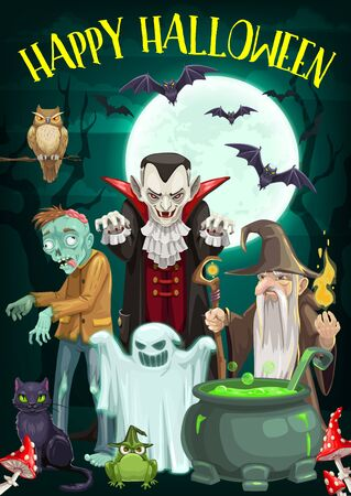 Halloween night horror monster vector characters of ghost, dracula vampire and zombie, black cat, bats and evil wizard with full moon and potion cauldron. Halloween holiday trick or treat party design Illusztráció
